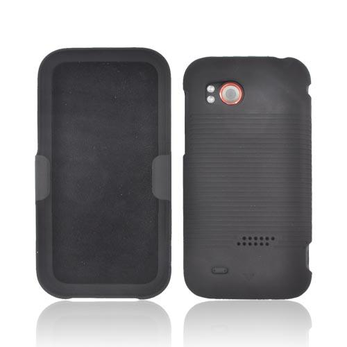 HTC Rezound Rubberized Hard Case w/ Holster Stand - Black
