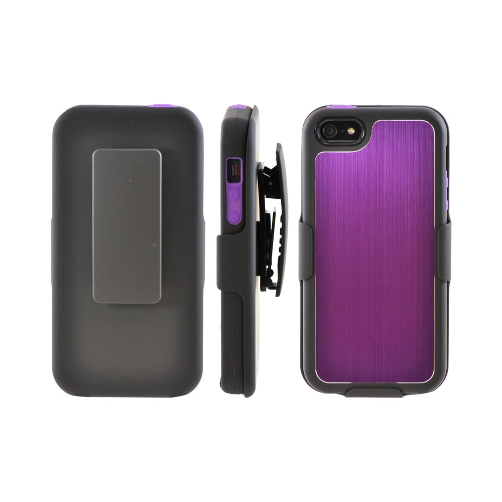 Apple iPhone SE / 5 / 5S Holster Case,  [Purple/ Black]  Supreme Protection Slim Matte Rubberized Hard Plastic Case Cover with Kickstand and Swivel Belt Clip