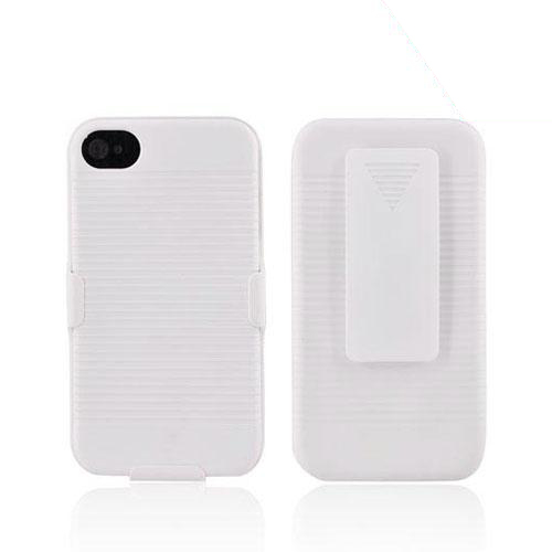 Apple AT&T/ Verizon iPhone 4 Rubberized Hard Case w/ Holster Stand - White
