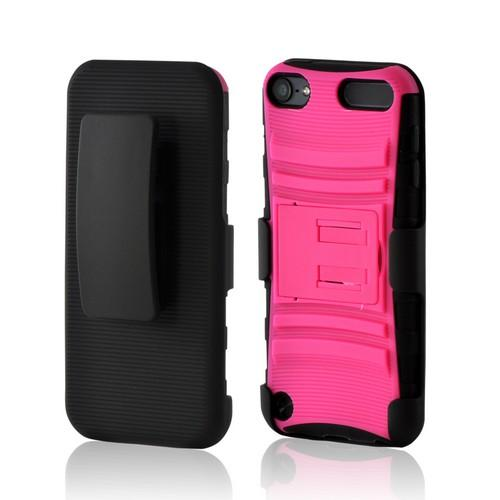 Black/ Pink Rubberized Hard Cover On Silicone Case w/ Stand & Holster Stand w/ Swivel Belt Clip for Apple iPod Touch 5