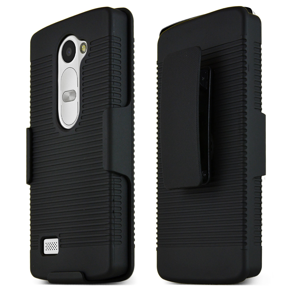 LG LEON (T-Mobile, MetroPCS) Holster Case, [Black] Supreme Protection Rubberized Plastic Case with Holster & Belt Clip