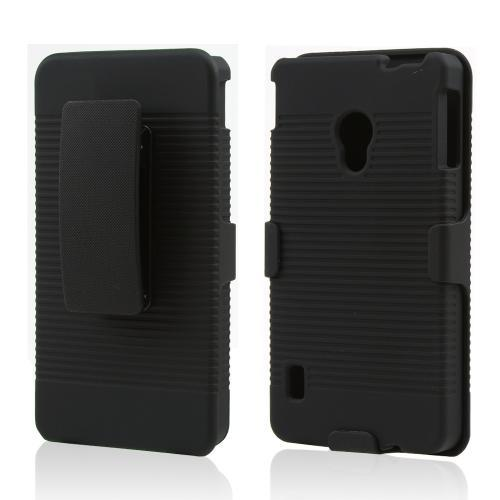 Black Rubberized Hard Case & Holster Combo w/ Kickstand & Swivel Belt Clip for LG Lucid 2