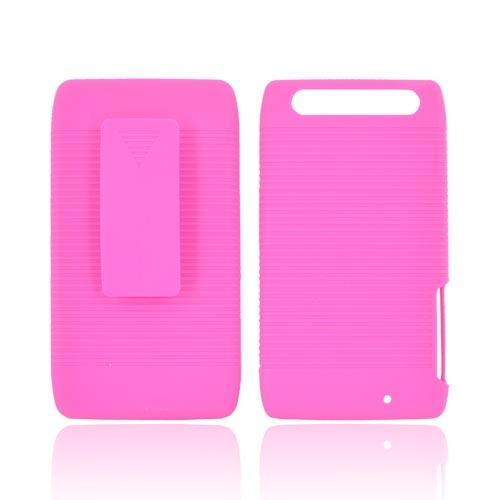 Motorola Droid RAZR MAXX Rubberized Hard Case w/ Holster Stand - Hot Pink