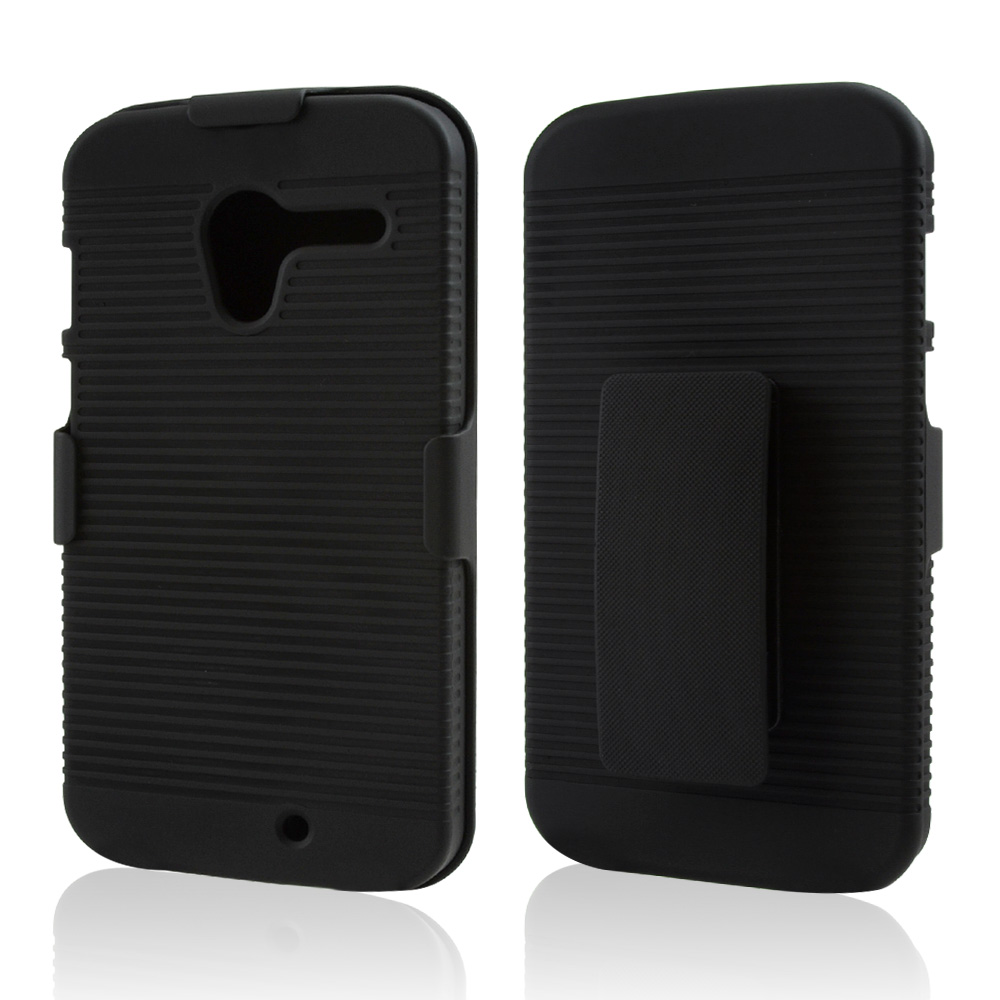 Black Rubberized Hard Case & Holster Combo w/ Kickstand & Swivel Belt Clip for Motorola Moto X(2013 1st Gen)