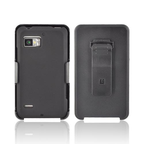 Premium Motorola Droid Bionic XT875 Rubberized Hard Case w/ Screen Protector & Holster - Black