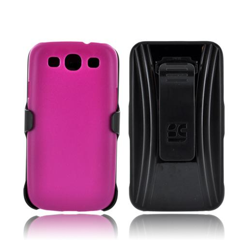 Samsung Galaxy S3 Holster & Case Combo w/ Screen Protector, Belt Clip & Stand - Magenta/ Black
