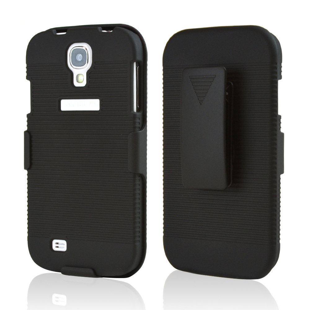Black Rubberized Hard Case & Holster Combo w/ Kickstand & Swivel Belt Clip for Samsung Galaxy S4