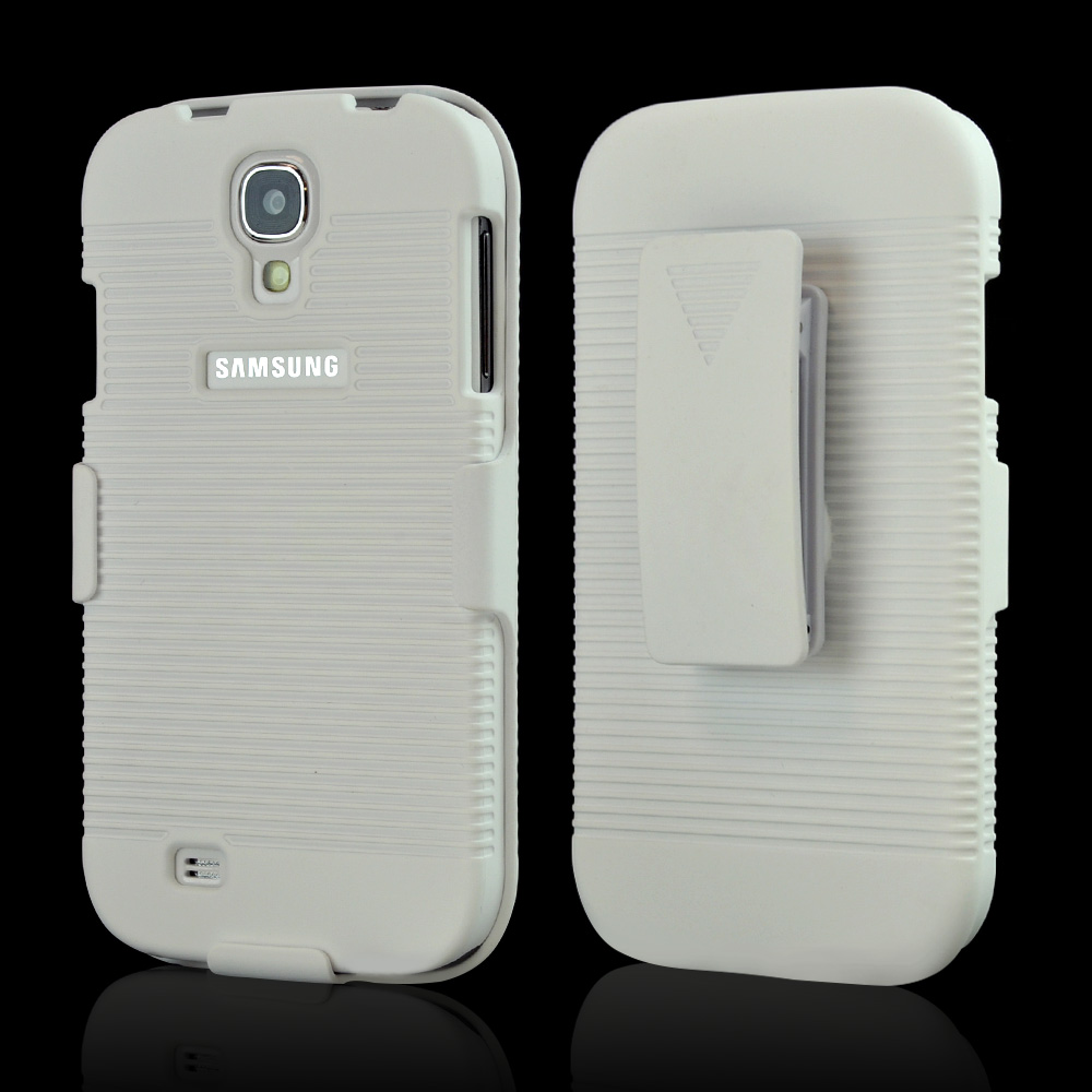 White Hard Case & Holster Combo w/ Kickstand & Swivel Belt Clip for Samsung Galaxy S4