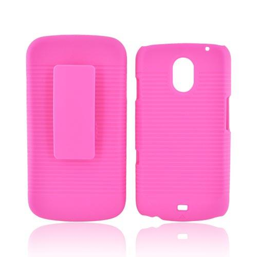 Samsung Galaxy Nexus Rubberized Hard Case w/ Holster Stand - Hot Pink