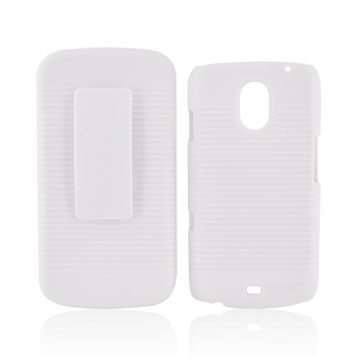 Samsung Galaxy Nexus Rubberized Hard Case w/ Holster Stand - Solid White