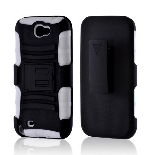 Black/ White Rubberized Hard Cover On Silicone Case w/ Stand & Holster Stand w/ Swivel Belt Clip for Samsung Galaxy Note 2