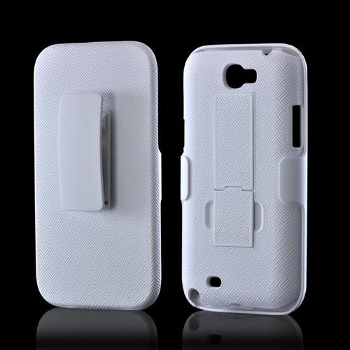 Rubberized White Holster Combo Hard Case w/ Belt Clip & Kickstand for Samsung Galaxy Note 2