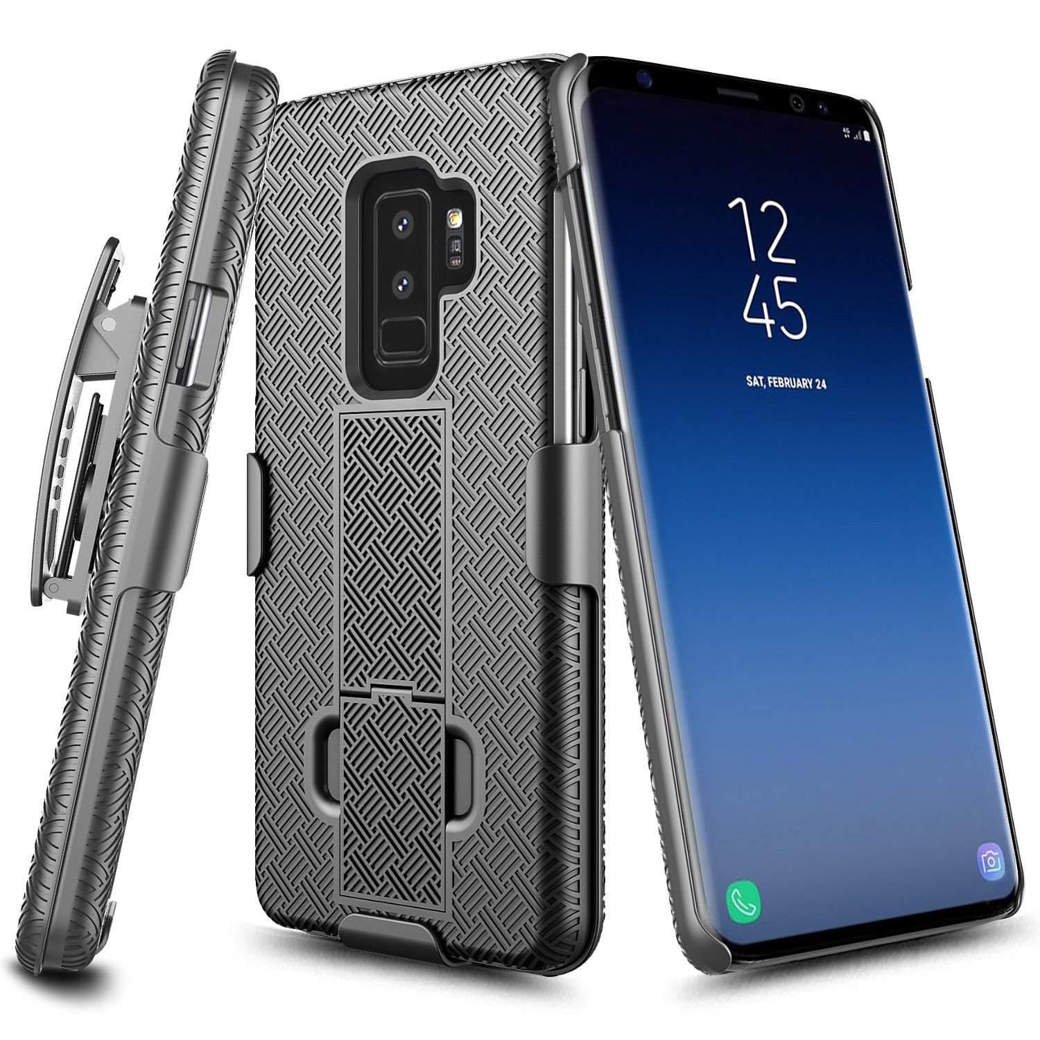 [Samsung Galaxy S9], [Black] Supreme Protection Slim Matte Rubberized Hard Plastic Case Cover with Kickstand and Swivel Belt Clip