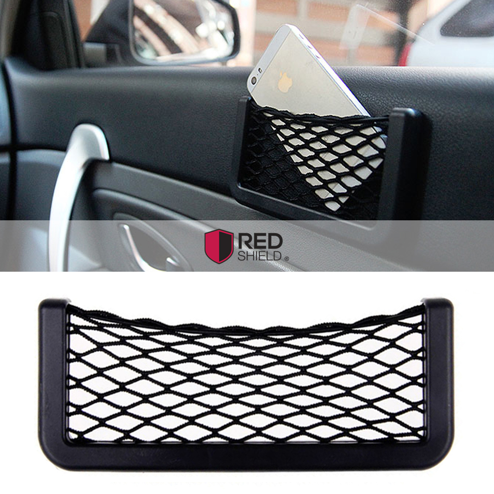 Large Black Car Net Bag Phone Holder Storage Pocket Organizer [Also great for wallet, keys, pens, and MORE!]