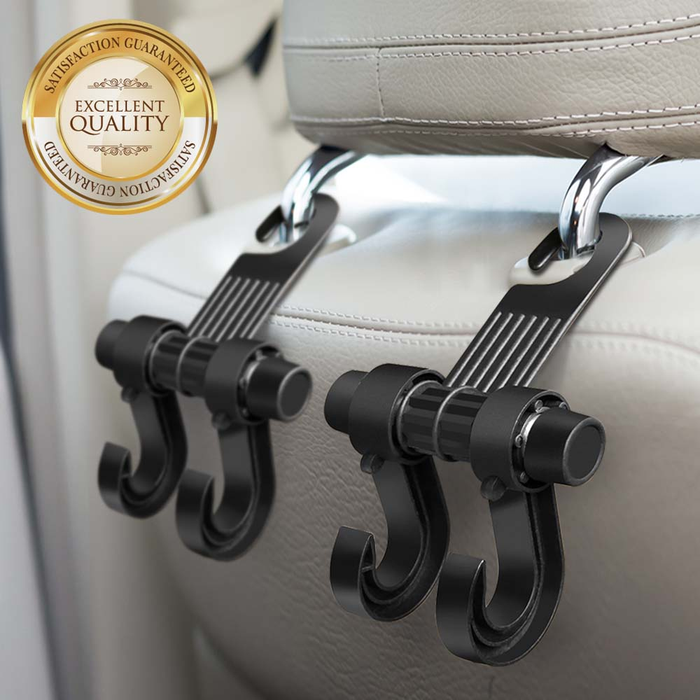 RED SHIELD Car Back Seat Headrest Hanger Hook. Heavy Duty Holder for Shopping Bags, Backpacks, Purses, Groceries, Clothes, Etc. Universal Fit for All Vehicles. Convenient Organizer Holds Up to 15 lbs.