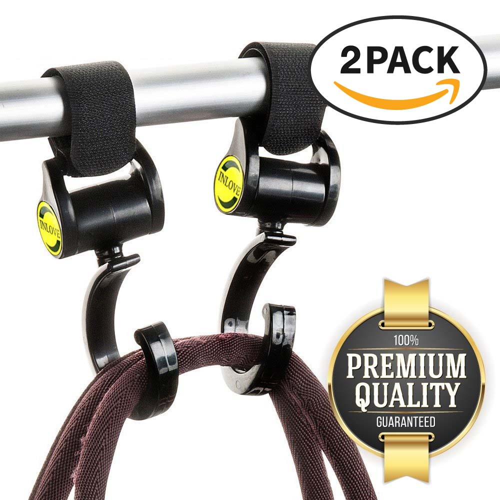 Eutuxia Stroller Hook for Baby Strollers, Pushchairs, Prams, Perambulators & Buggies. Hanger Organizer Hangs & Secures Backpacks, Purses, Shopping, Grocery & Diaper Bags. Universal Fit Velcro. [2 PK]