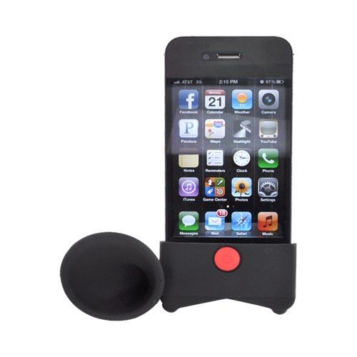 AT&T/ Verizon Apple iPhone 4, iPhone 4S Silicone Horn Stand Case - Black