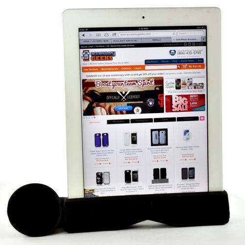 Black Silicone Horn Stand Case w/ Detachable Horizontal Stabilizer for iPad 2/3/4