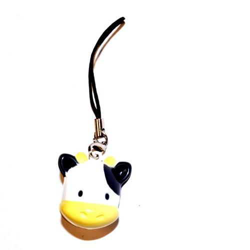 Animal Bell Cell Phone Charm/ Stopple - Black/ White Cow