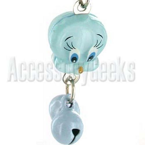 Baby Blue Canary with Bells Cell Phone Strap, Charm