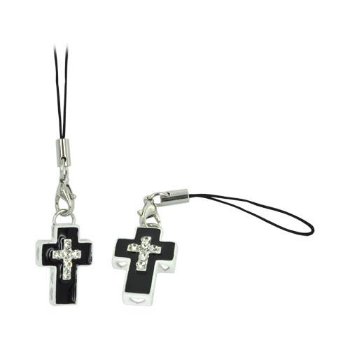 Cross Cellphone Charm/ Strap w/ Heart Cutouts & Gems - Black/ White