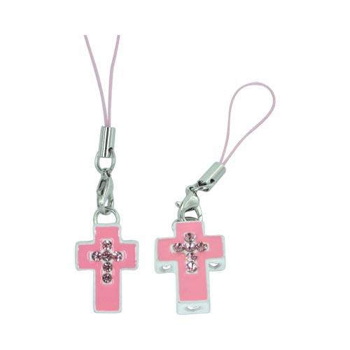 Cross Cellphone Charm/ Strap w/ Heart Cutouts & Gems - Pink/ White