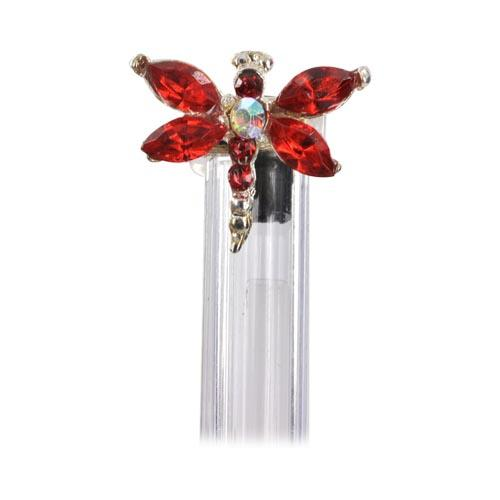 Dragonfly Cellphone Antenna / Pen / Pencil Ring Charm - Red
