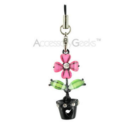 Flower with Cubic Stones in a Black Flower Pot Cell Phone Charm - pink