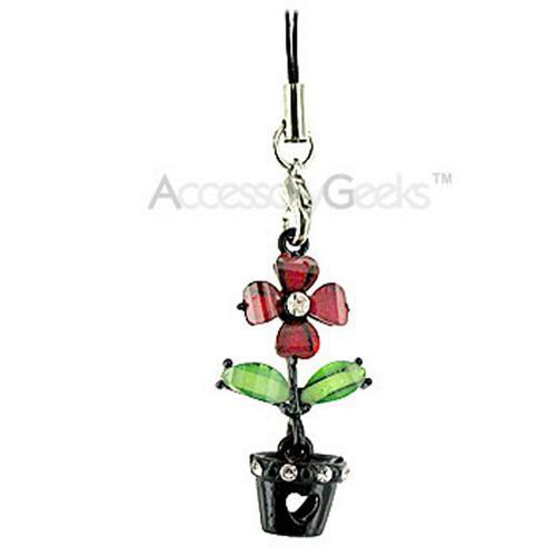 Flower with Cubic Stones in a Black Flower Pot Cell Phone Charm - red