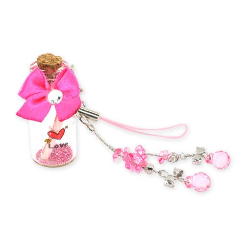 Love Message Bottle w, Ribbon Cellphone Charm,Strap - Pink