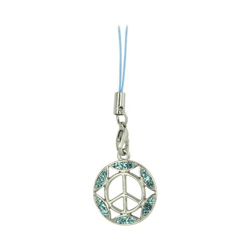 Peace Sign w/ Gemmed Border Cellphone Charm/ Strap - Blue