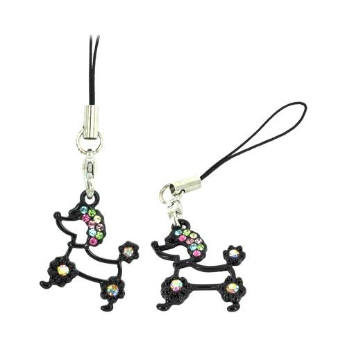 Poodle Cellphone Charm/ Strap w/ Multi Colored Embedded Gems - Black