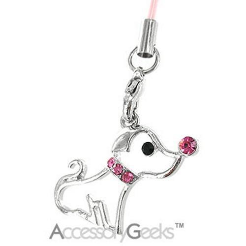 Cute Puppy w/ Cubic Stone Nose & Necklace Charm - pink