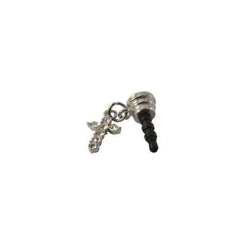 Silver Bling Cross 3.5mm Headphone Jack Stopple Charm