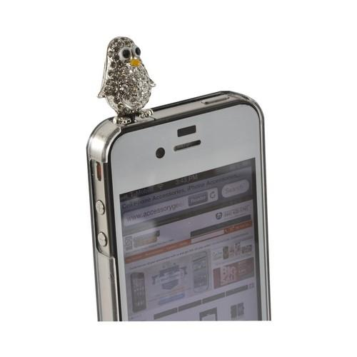 Silver Bling Penguin 3.5mm Headphone Jack Stopple Charm
