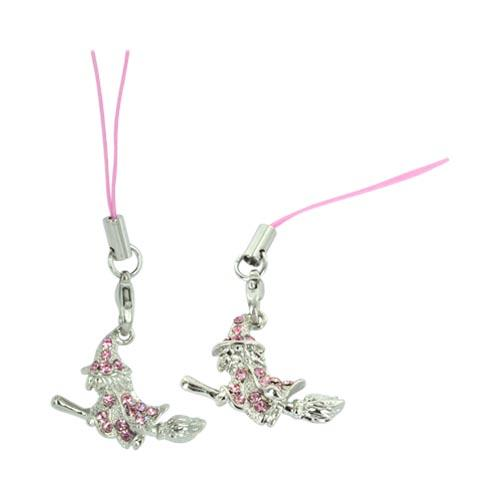 Witch Cellphone Charm/ Strap w/ Pink Embedded Gems - Silver