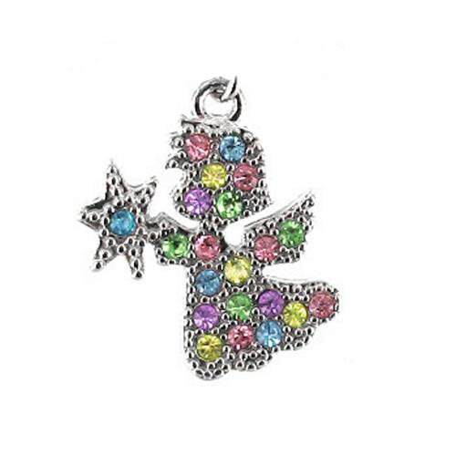 Cubic Stone Angel cell phone charm - multi color