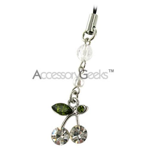 Cherry Cubic Stone Cell Phone Charm/Strap - Clear