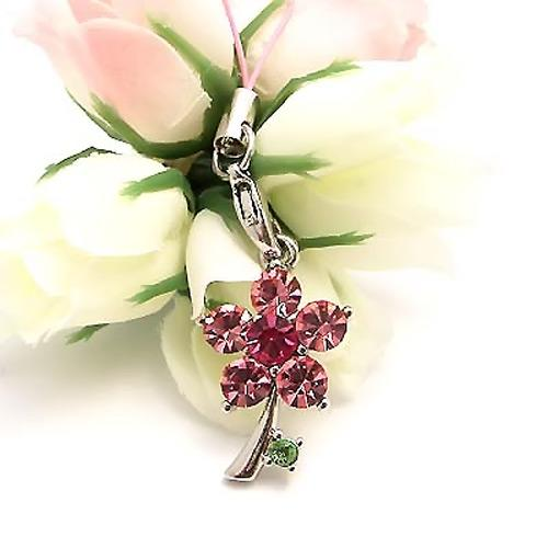 Tiny Dandelion Flower Cubic Stone Cell Phone Charm / Strap - Baby Pink