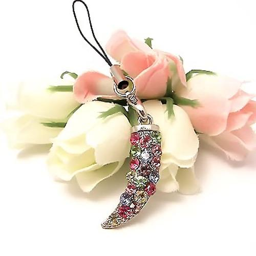 Sparkling Horn Cubic Stone Cell Phone Charm , Strap - Multi-Color