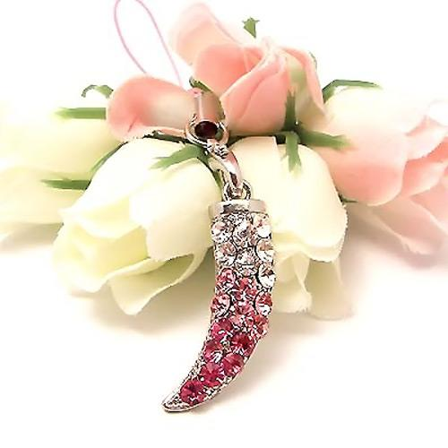 Sparkling Horn Cubic Stone Cell Phone Charm , Strap - Pink & Clear