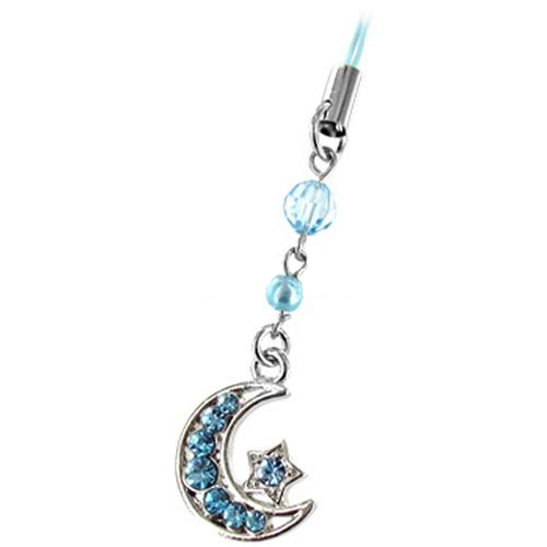 Moon & Star Cell Phone Charm/Strap - Blue