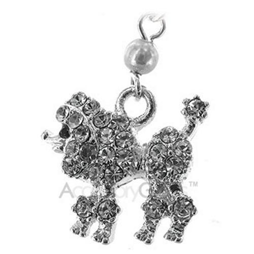 Poodle Cubic Stone Cell Phone Charm/Strap - clear