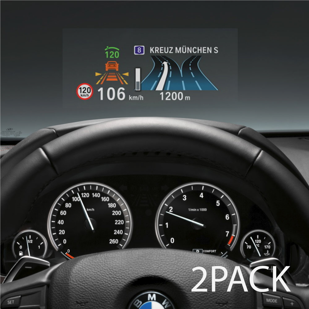 "RED SHIELD Universal Head Up Display HUD Reflective Windshield Film 7.5"" for All Car Makes and Models. Premium Quality High Definition (HD) Clarity Film. Compatible with HUD Units & Smartphones [2 PK]"
