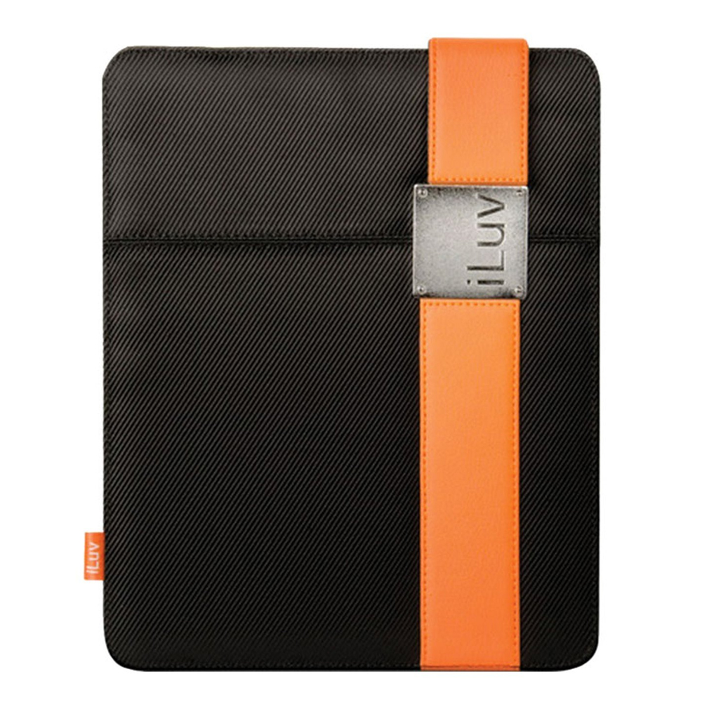 Original iLuv Apple iPad (All Gen.) Textile Case w/ Leather Band Clip, ICC805BLK - Black/Orange