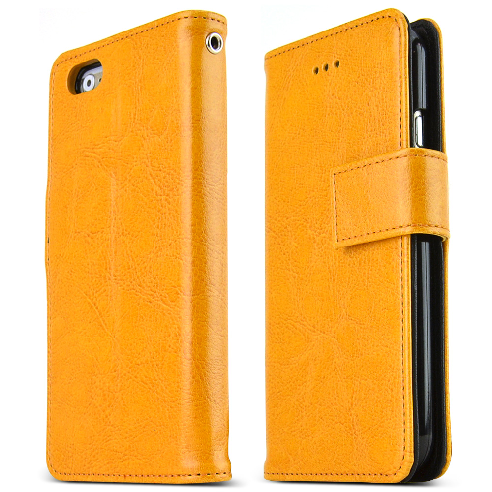 Made for Apple iPhone 6/ 6S Case,  [Yellow] Classic Series Kickstand Feature Luxury Faux Saffiano Leather Front Flip Cover with Built-in Card Slots, Magnetic Flap by Nodea