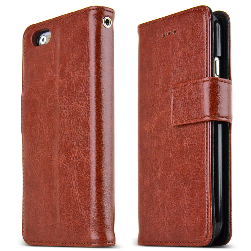 Apple iPhone 6 PLUS/6S PLUS (5.5 inch) Case Classic Series [Brown] Slim & Protective Flip Cover Diary Case w/ ID Slots