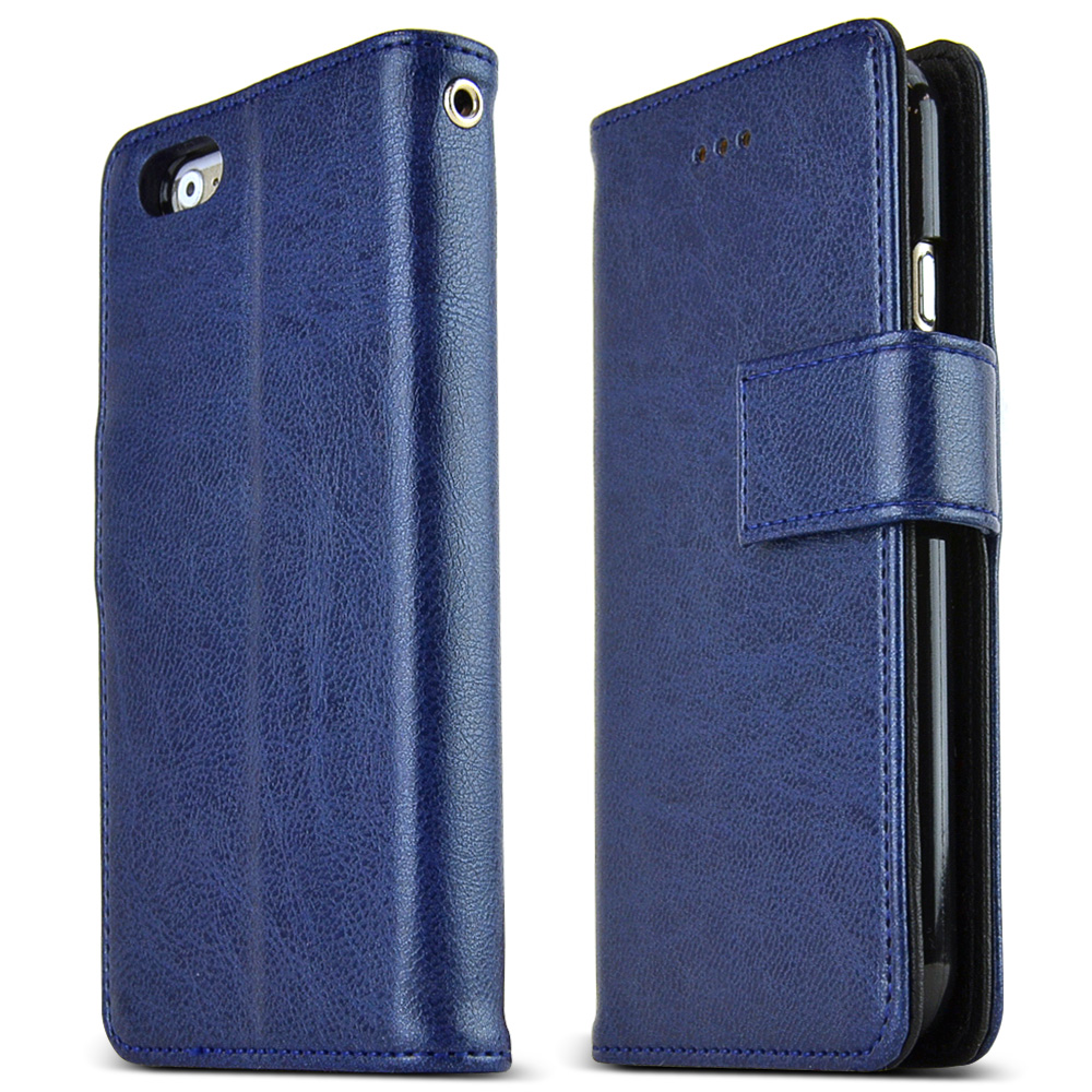 Made for Apple iPhone 6 PLUS/6S PLUS (5.5 inch) Case Classic Series [Navy] Slim Protective Flip Cover Diary Case w/ ID Slots by Nodea