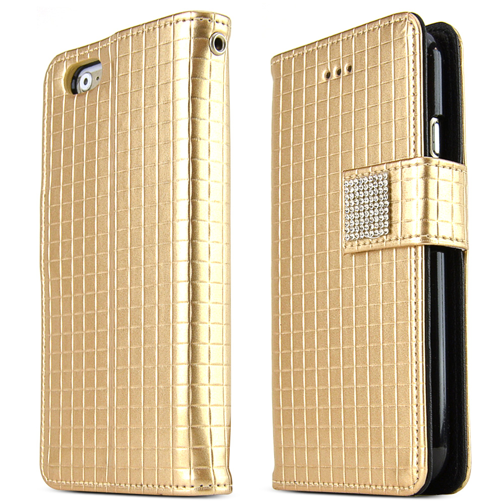 Apple iPhone 6/ 6S Case,  [Gold] Cubic Series Kickstand Feature Luxury Faux Saffiano Leather Front Flip Cover with Built-in Card Slots, Magnetic Flap