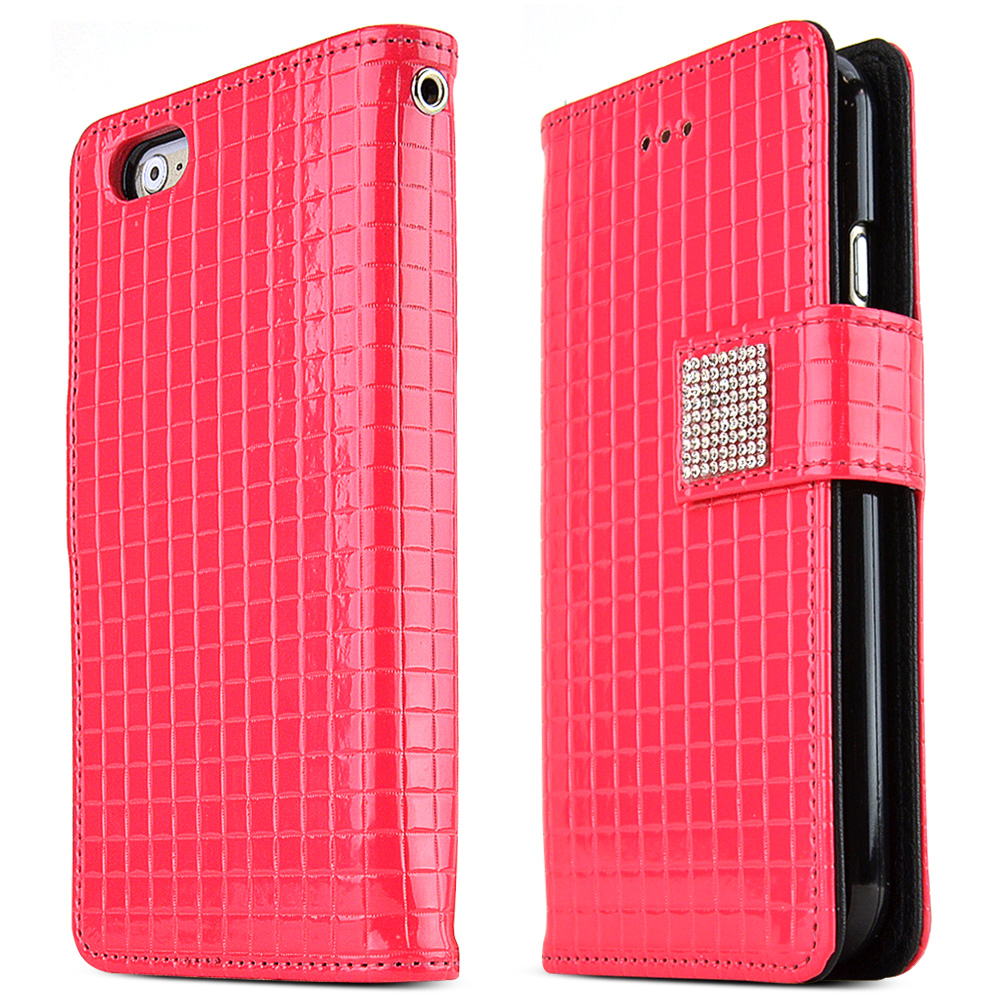 Made for Apple iPhone 6/ 6S Case,  [Hot Pink] Cubic Series Kickstand Feature Luxury Faux Saffiano Leather Front Flip Cover with Built-in Card Slots, Magnetic Flap by Redshield